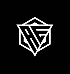 Ae logo monogram with triangle and hexagon shape vector