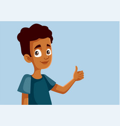 African teen boy holding thumbs up doing ok sign vector