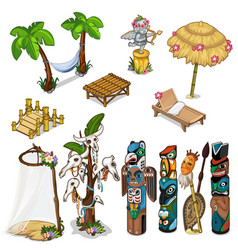 ancient idols and tropical theme big set vector image