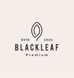 black leaf hipster vintage logo icon vector image
