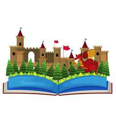 Book with castle towers and dragon vector