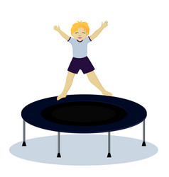 Boy on trampoline vector