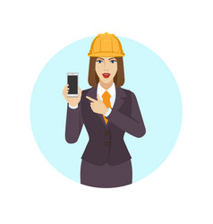 businesswoman in construction helmet pointing at vector image