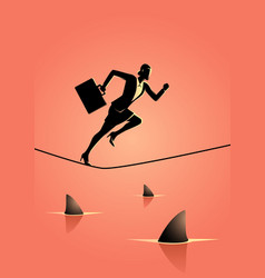Businesswoman running on rope with sharks vector