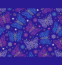 butterfly seamless pattern flying insects with vector image