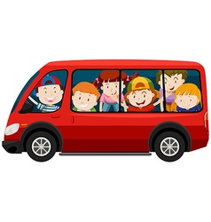 Children riding in red van vector