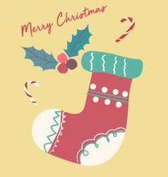 christmas card cute festive vintage sock flat vector image