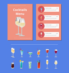 cocktail party menu list cocktail price ingredient vector image