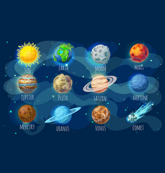Colorful space elements set vector