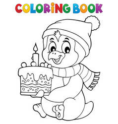 coloring book penguin with cake theme 1 vector image