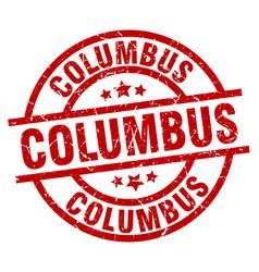 columbus red round grunge stamp vector image