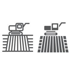 combine harvester on field line and glyph icon vector image