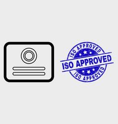 contour certificate icon and scratched iso vector image