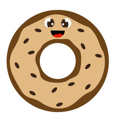 cute donut with eyes on white background vector image