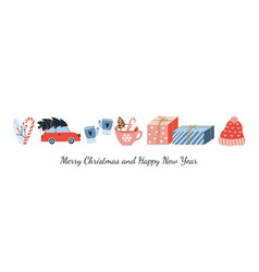 cute merry christmas and happy new year greeting vector image