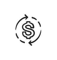 Dollar symbol with arrows sketch icon vector