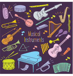 doodle musical instruments in pastel color vector image