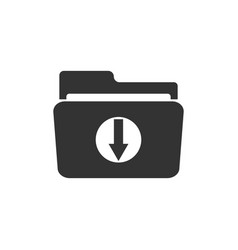 download arrow with folder icon isolated flat vector image