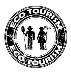 eco tourism rubber stamp vector image
