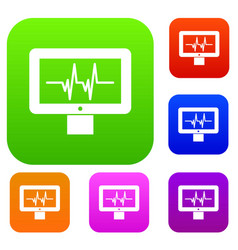 Electrocardiogram monitor set collection vector