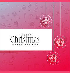elegant merry christmas greeting design vector image