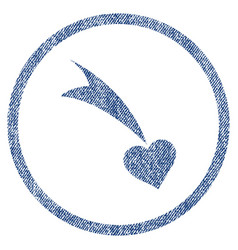 Falling heart rounded fabric textured icon vector