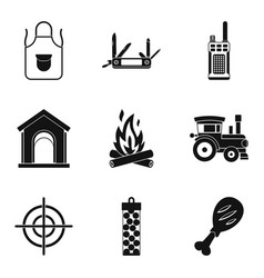 family travel icons set simple style vector image