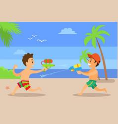 fighting water boys at coastline kids vector image