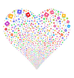 first aid kit fireworks heart vector image
