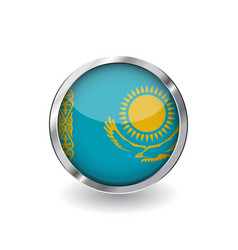flag of kazakhstan button with metal frame and vector image