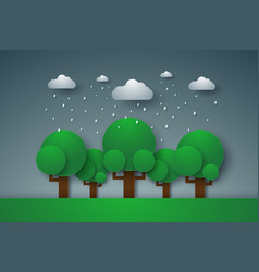 Forest with rain paper art style vector