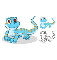 gecko cartoon character mascot design vector image