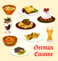 german cuisine dinner with meat dish and dessert vector image