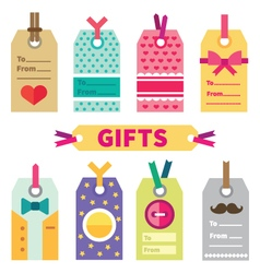 Gift set of labels and post card vector image