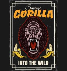 gorilla head and two bananas decorative vector image