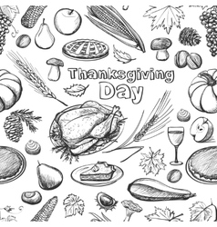 Hand drawn sketch thanksgiving day seamless vector