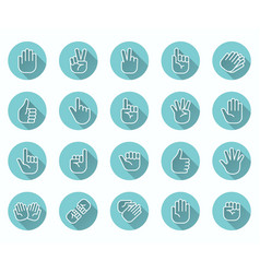 Hand gestures flat icon set finger choose vector