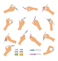 hand holding syringe doctor make vaccination vector image