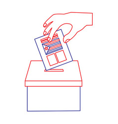 hand inserting a paper ballot voting in vector image