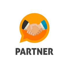 hand shake logo flat design shaking hands vector image