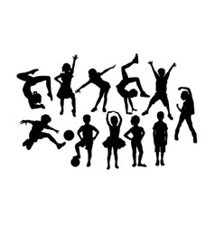 happy children activity silhouettes vector image