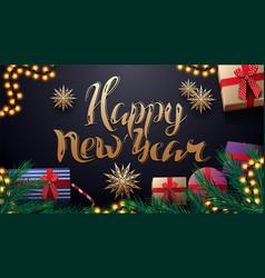 happy new year dark blue postcard with garland vector image