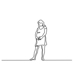 Happy pregnant woman silhouette picture vector