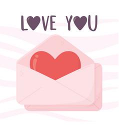 Happy valentines day envelope message heart love vector