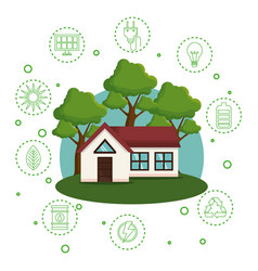 house with save the world icons vector image