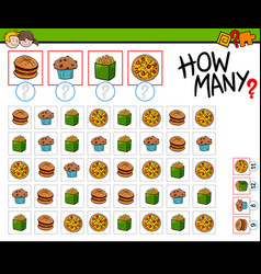 How many food objects cartoon game vector