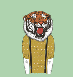 human with tiger head vector image