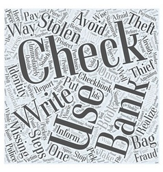 Identity theft stolen checks word cloud concept vector