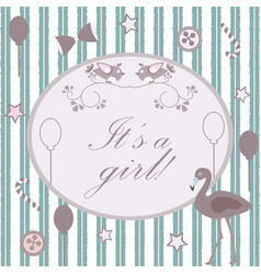 its girl announcement congratulations greeting vector image