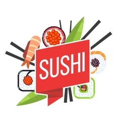 Japanese sushi menu template vector